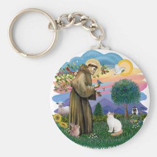Saint Francis - Turkish Van cat Key Ring