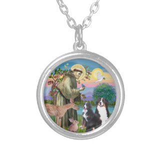 Saint Francis - Two Bernese Mountain Dogs Silver Plated Necklace