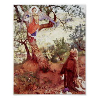 Saint Francis with Angel Poster
