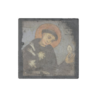 Saint  Francis with Lilies Stone Magnet