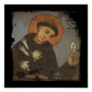Saint Francis with White Lilies Poster