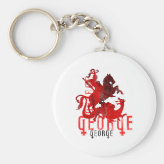 Saint George and Dragon Basic Round Button Key Ring
