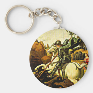 Saint George and the Dragon by Raphael Key Ring