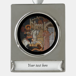Saint George by the Castle Silver Plated Banner Ornament