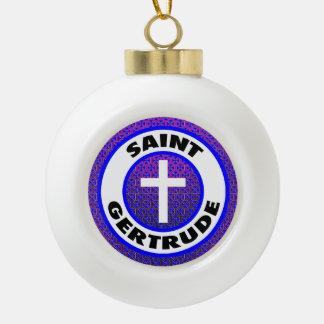 Saint Gertrude Ceramic Ball Christmas Ornament
