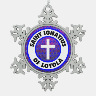 Saint Ignatius of Loyola Snowflake Pewter Christmas Ornament