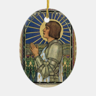 Saint Joan of Arc Stained Glass Image Ceramic Ornament