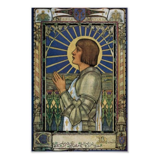 Saint Joan of Arc Stained Glass Image Print