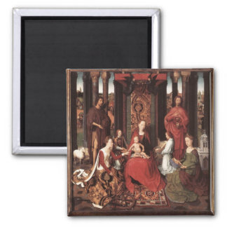 Saint John Altarpiece by Memling Square Magnet