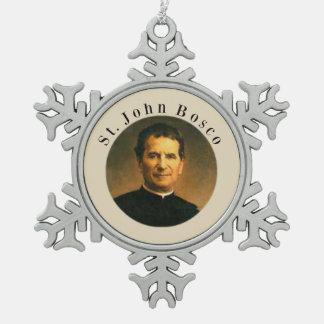 Saint John Bosco Snowflake Pewter Christmas Ornament