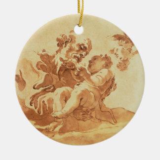 Saint Joseph adoring the Christ Child (pen, ink, b Round Ceramic Decoration