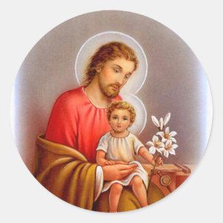 """Saint Joseph feast day"" ""little saints of spring"" Classic Round Sticker"