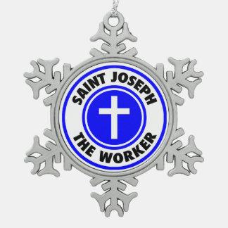 Saint Joseph the Worker Snowflake Pewter Christmas Ornament