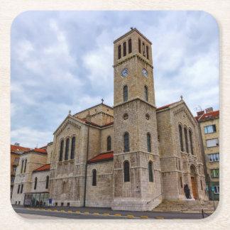Saint Joseph's Church in Sarajevo. Bosnia and Herz Square Paper Coaster