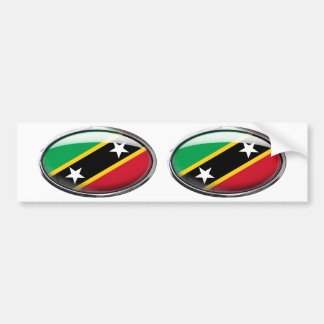 Saint Kitts And Nevis Flag Glass Oval Bumper Sticker