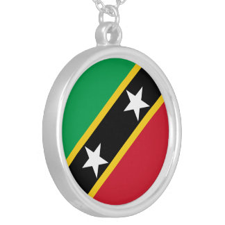 Saint Kitts and Nevis Flag Silver Plated Necklace