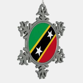 Saint Kitts and Nevis Flag Snowflake Pewter Christmas Ornament