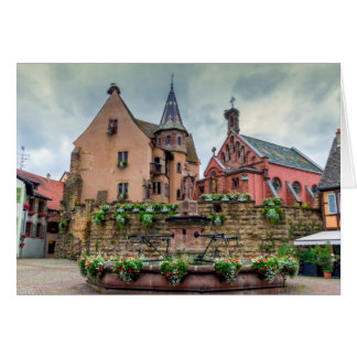 Saint-Leon fountain in Eguisheim, Alsace, France Card