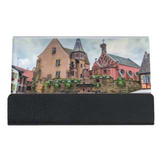 Saint-Leon fountain in Eguisheim, Alsace, France Desk Business Card Holder
