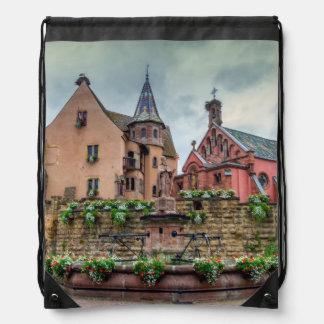 Saint-Leon fountain in Eguisheim, Alsace, France Drawstring Bag