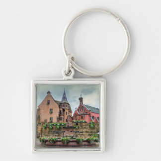 Saint-Leon fountain in Eguisheim, Alsace, France Key Ring