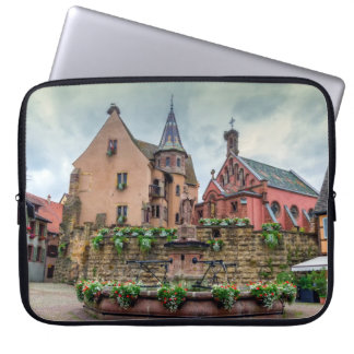 Saint-Leon fountain in Eguisheim, Alsace, France Laptop Sleeve