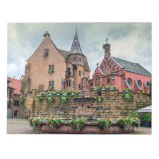 Saint-Leon fountain in Eguisheim, Alsace, France Notepad