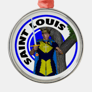 Saint Louis IX King of France Silver-Colored Round Decoration
