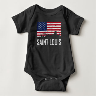 Saint Louis Missouri Skyline American Flag Distres Baby Bodysuit