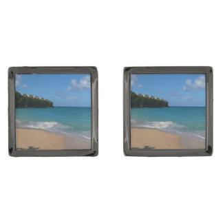 Saint Lucia Beach Tropical Vacation Landscape Gunmetal Finish Cufflinks