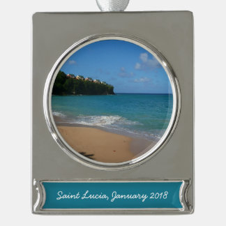 Saint Lucia Beach Tropical Vacation Landscape Silver Plated Banner Ornament