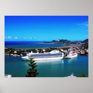 Saint Lucia, cruise ship Poster