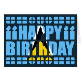 Saint Lucia Flag Birthday Card