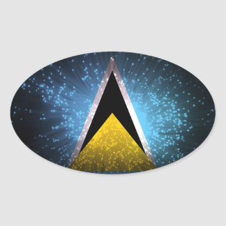 Saint Lucia Flag Firework Oval Sticker
