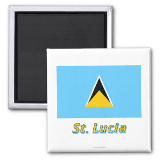 Saint Lucia Flag with Name Square Magnet