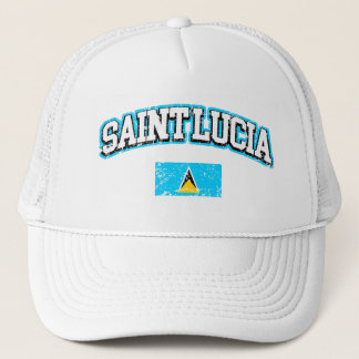 Saint Lucia Vintage Flag Trucker Hat