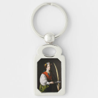 Saint Lucy Keychain - Patroness of the Eyes Silver-Colored Rectangle Key Ring