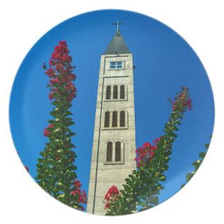 Saint Luke tower in Mostar, Bosnia and Herzegovina Party Plates