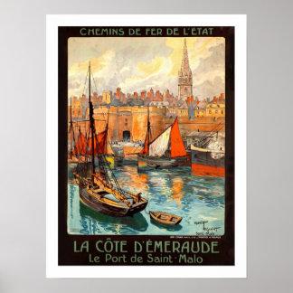 Saint Malo Vintage Travel Poster