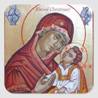 Saint Mary Theotokos Byzantine Style Icon Square Sticker