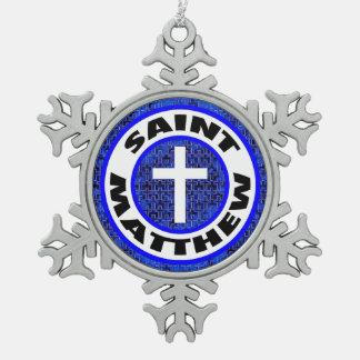 Saint Matthew Snowflake Pewter Christmas Ornament