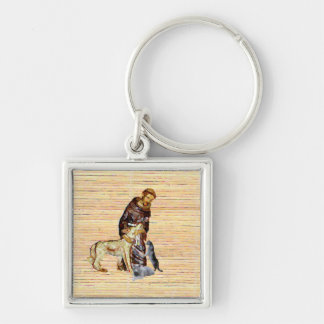 Saint/monk with animals (religious) Silver-Colored square key ring