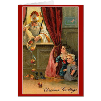 Saint Nicholas Children Candy Fruit Boy Girl Card