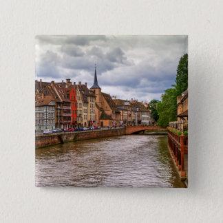 Saint-Nicolas dock in Strasbourg, France 15 Cm Square Badge