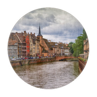 Saint-Nicolas dock in Strasbourg, France Cutting Board