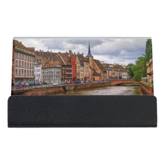 Saint-Nicolas dock in Strasbourg, France Desk Business Card Holder