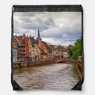 Saint-Nicolas dock in Strasbourg, France Drawstring Bag