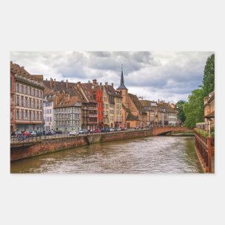 Saint-Nicolas dock in Strasbourg, France Rectangular Sticker