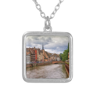 Saint-Nicolas dock in Strasbourg, France Silver Plated Necklace