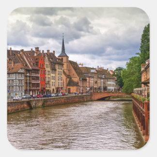 Saint-Nicolas dock in Strasbourg, France Square Sticker